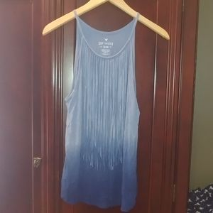 American Eagle soft sexy blue ombre fringe tank